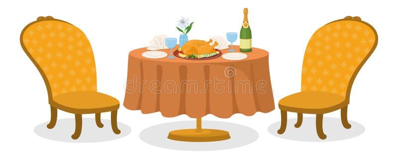 Stół z posiłkiem, odizolowywającym ilustracji