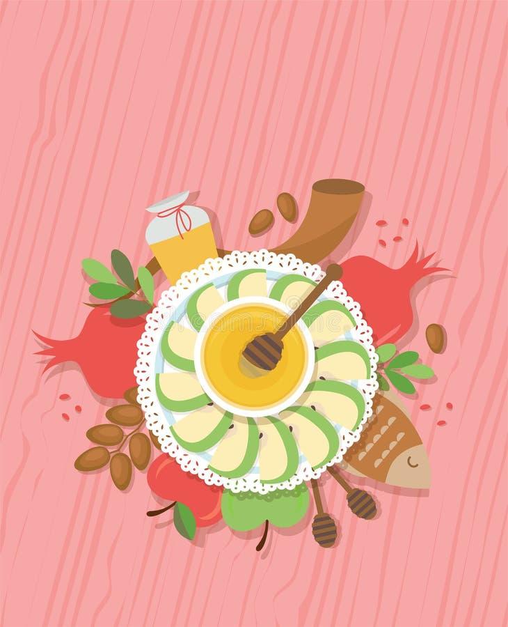 Stół z symbolami Żydowski wakacyjny Rosh Hashana, nowy rok Wektorowy ilustracyjny szablonu projekt ilustracji