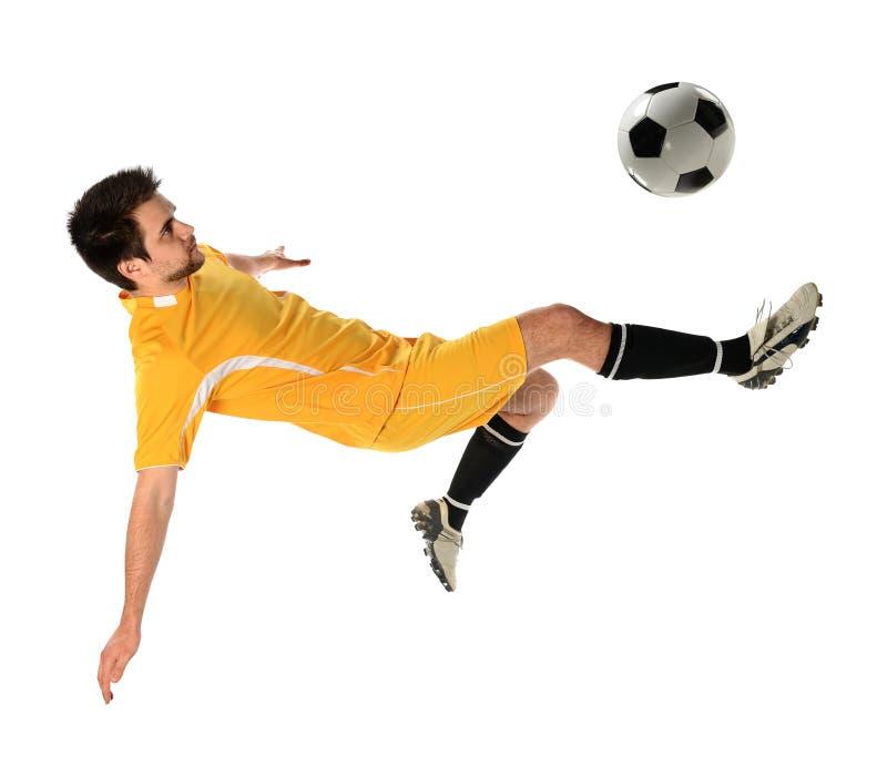 stöd spelarefotboll för boll arkivfoto