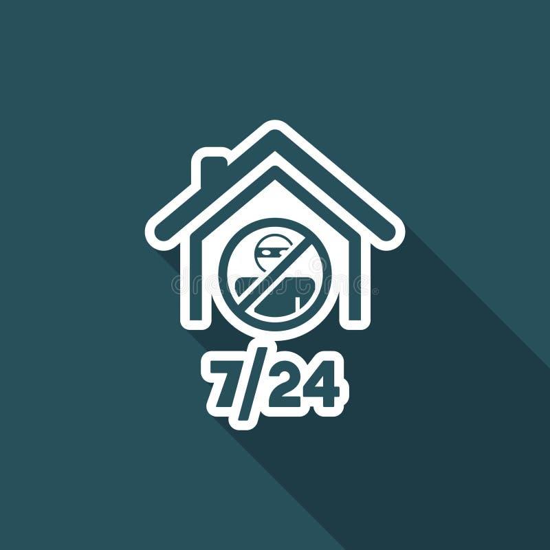 Stödja hem- säkerhetstjänster 7/24 - vektorrengöringsduksymbolen royaltyfri illustrationer