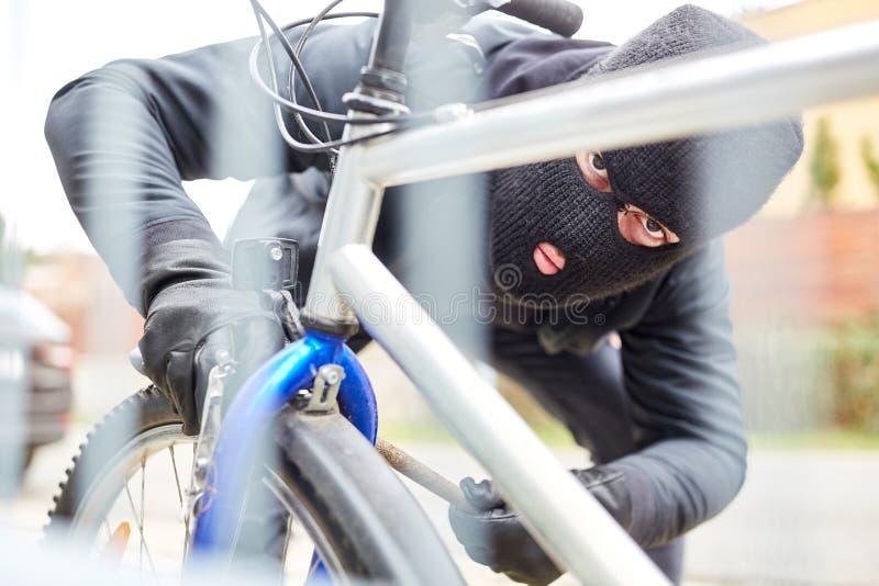 Stöldcykeltjuv på en cykel royaltyfria bilder