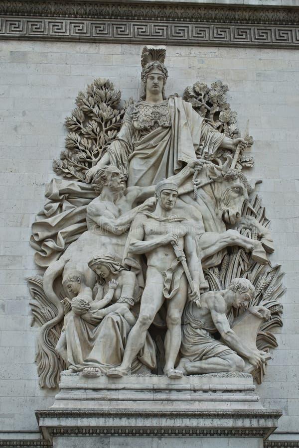 Stöpningar på Arc de Triomphe royaltyfria bilder