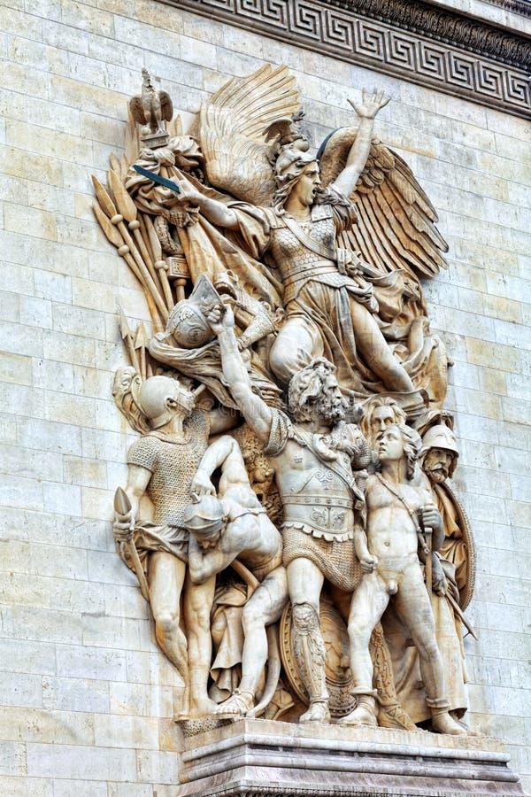 Stöpningar på Arc de Triomphe. Paris. Frankrike. royaltyfri fotografi