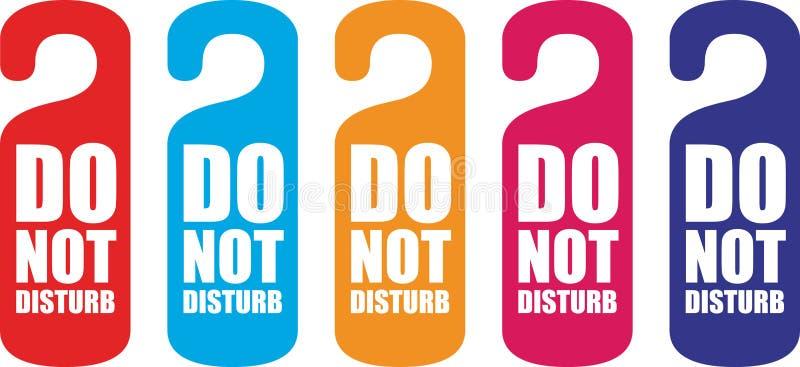 Stör inte dörrhängaren royaltyfri illustrationer