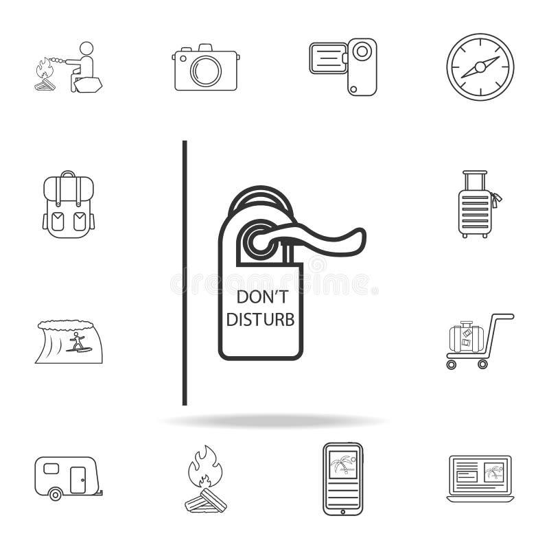 Stören Sie nicht Zeichenlinie Ikone Satz Tourismus- und Freizeitikonen Zeichen, Entwurfsmöbelsammlung, einfache dünne Linie Ikone lizenzfreie abbildung