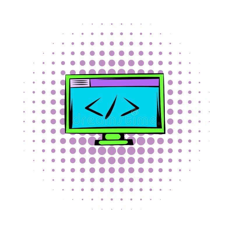 Större än eller mindre än på datorbildskärmen stock illustrationer