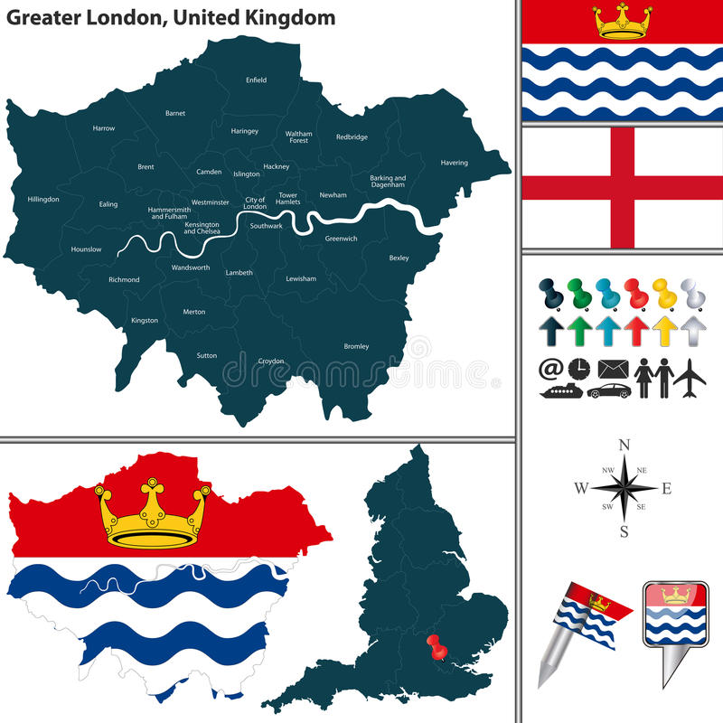 Större London, UK stock illustrationer