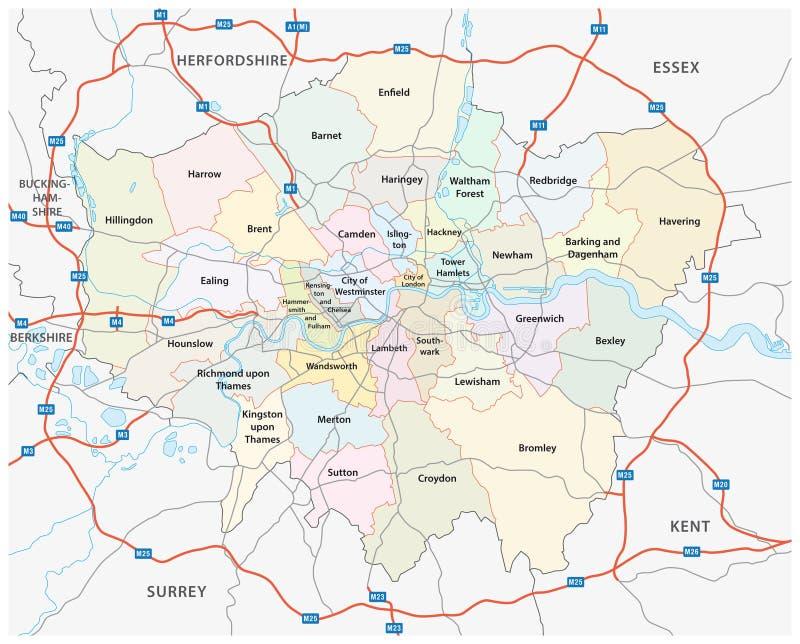 Större london väg och administrativ översikt stock illustrationer