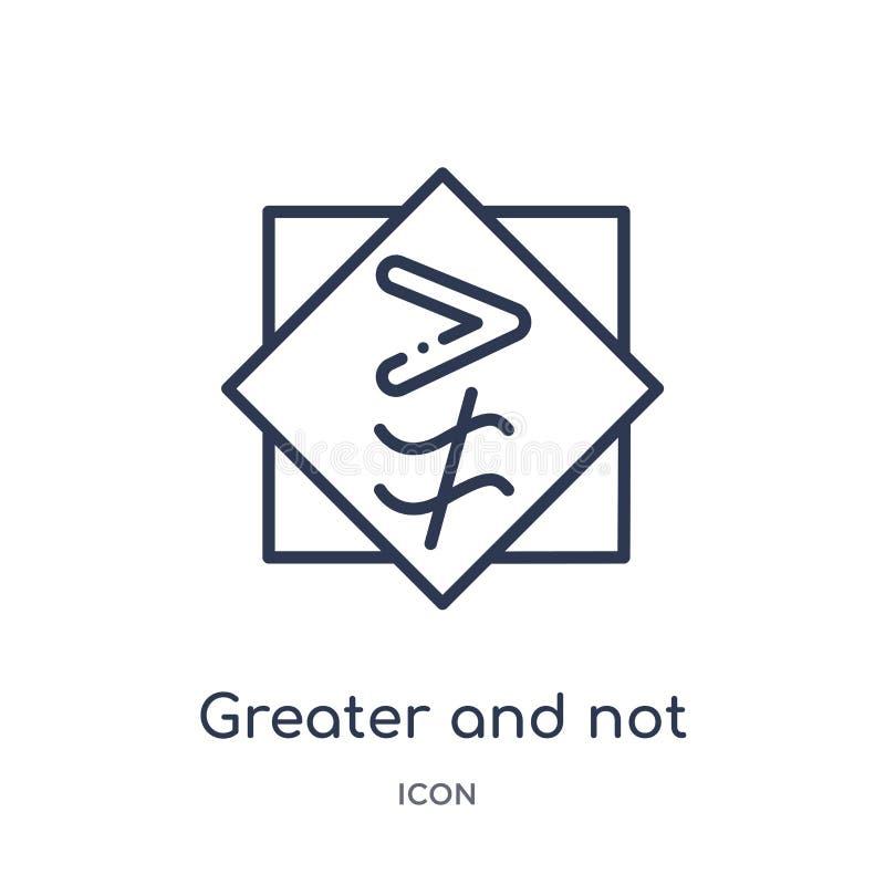 större och inte ungefärligt jämbördigt till symbolen från teckenöversiktssamling Tunn linje som är större och som inte ungefärlig vektor illustrationer