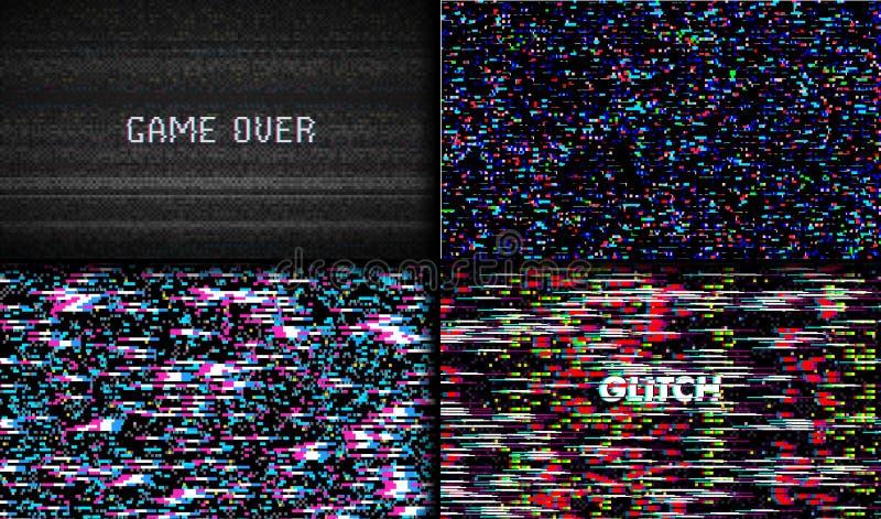 Störschub-Beschaffenheitspixelgeräusche Hintergrund Test Fernsehschirm-Digital VHS Stellen Sie vom Fehler-Computer-Video ein Abst vektor abbildung
