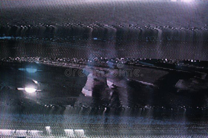 Störschub Fernsehschirm Ursprünglicher analoger Schirm des Fehlers im Fernsehen lizenzfreies stockbild