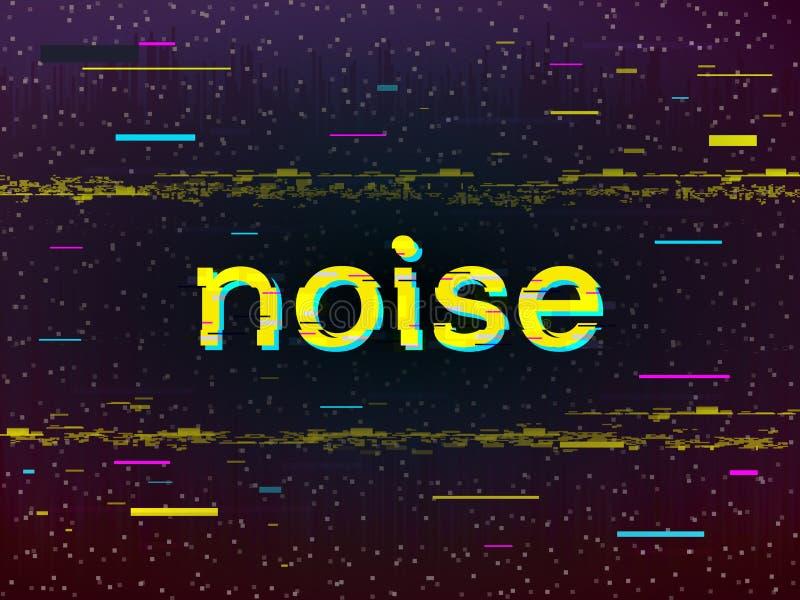 Störschubdesign Verzerrte gelbe Aufschrift Geräusche und Pixel auf dunklem Hintergrund Farblinien und VHS-Deformation stock abbildung