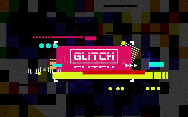 Störschubfahne auf dunklem Hintergrund Farbverzerrung mit gelegentlichen Fliesen Modernes Konzept Abstrakte horizontale Linien ch stock abbildung