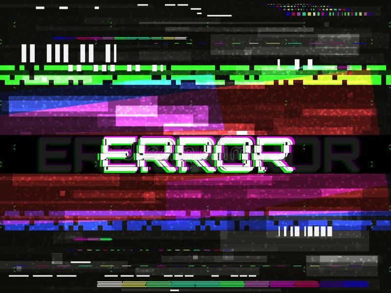 Störschubfehlerschablone Videoproblemkonzept Farbpixel und -linien Elemente und Geräusche Glitched auf dunklem Hintergrund Nein stock abbildung