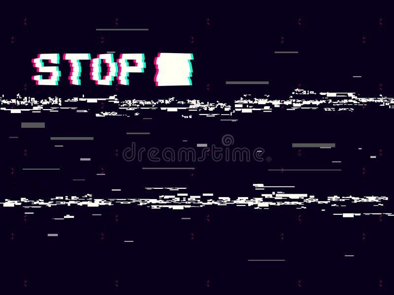 Störschubhalt auf schwarzem Hintergrund Retro- VHS-Hintergrund Alter Kameraeffekt Videoschablone Nehmen Sie Verzerrungen und Leit stock abbildung