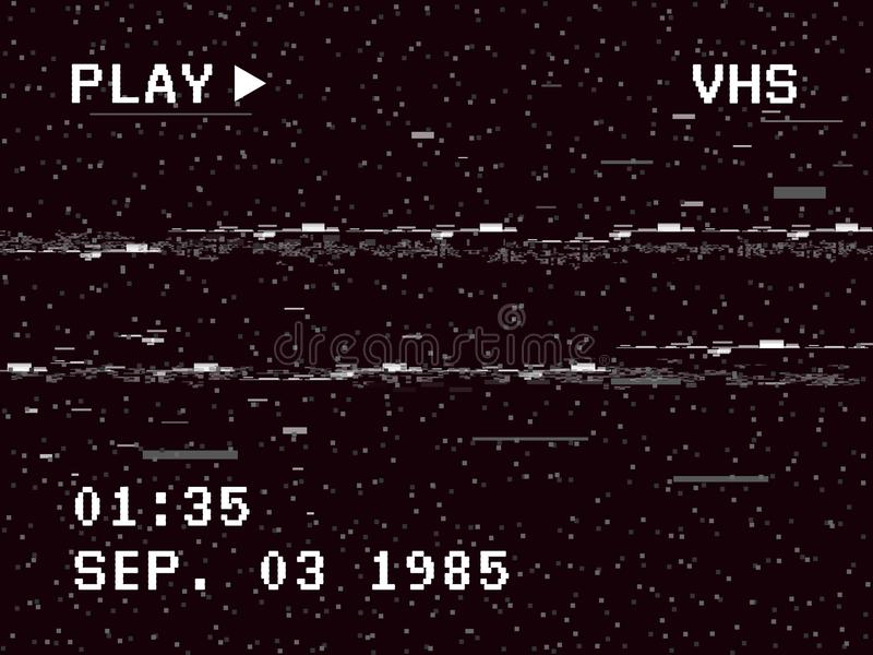 Störschubkameraeffekt Retro- VHS-Hintergrund Alte Videoschablone Kein Signal Nehmen Sie Rückspulen auf Auch im corel abgehobenen  stock abbildung