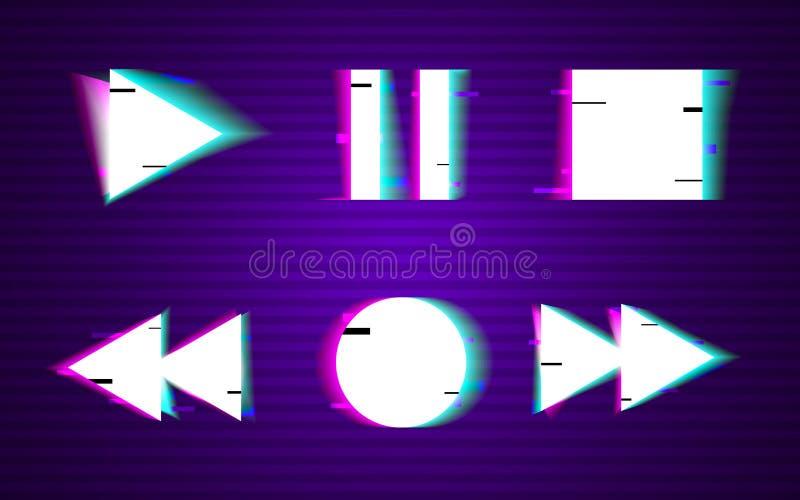 Störschubsatz Knöpfe Minimales Design Spiel, Rückspulen, stoppen, pausieren, Plattensammlungselemente VHS formt mit Verzerrung lizenzfreie abbildung
