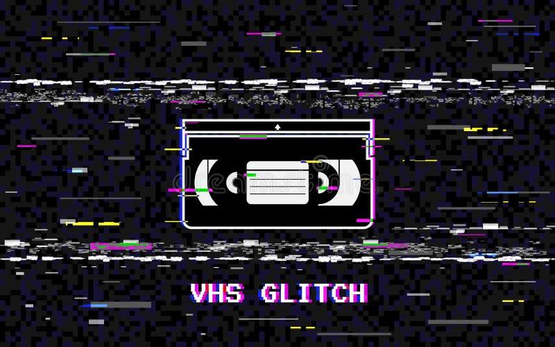 Störschubvideokassette Abstrakte weiße horizontale Verzerrungen VHS-Konzept GlitchedLeitungsgeräusch Retro- Hintergrund 80s vektor abbildung