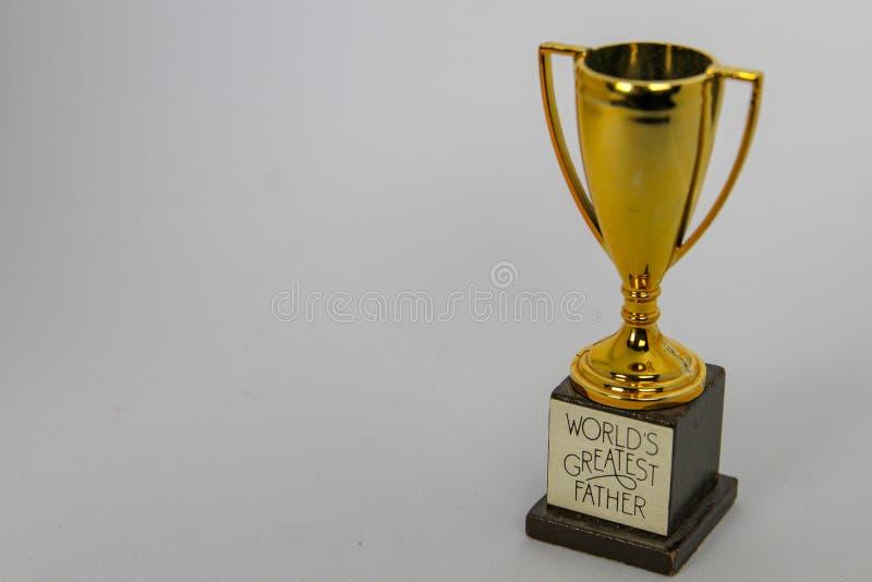 Störst fader Trophy för världar med rum för meddelande fotografering för bildbyråer