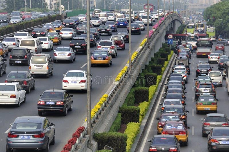 Störung und Autos des Peking-starken Verkehrs lizenzfreies stockbild