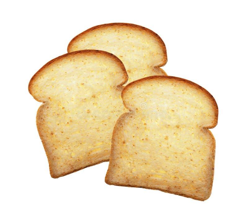 Stück Brote auf einem Weiß lizenzfreie stockfotografie