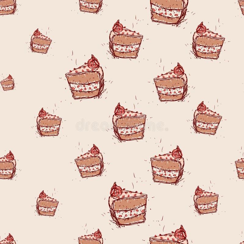 Stück der gezeichneten Skizze des Schokoladenkuchens Hand auf rosa Hintergrund Nahtloser Mustervektor stock abbildung