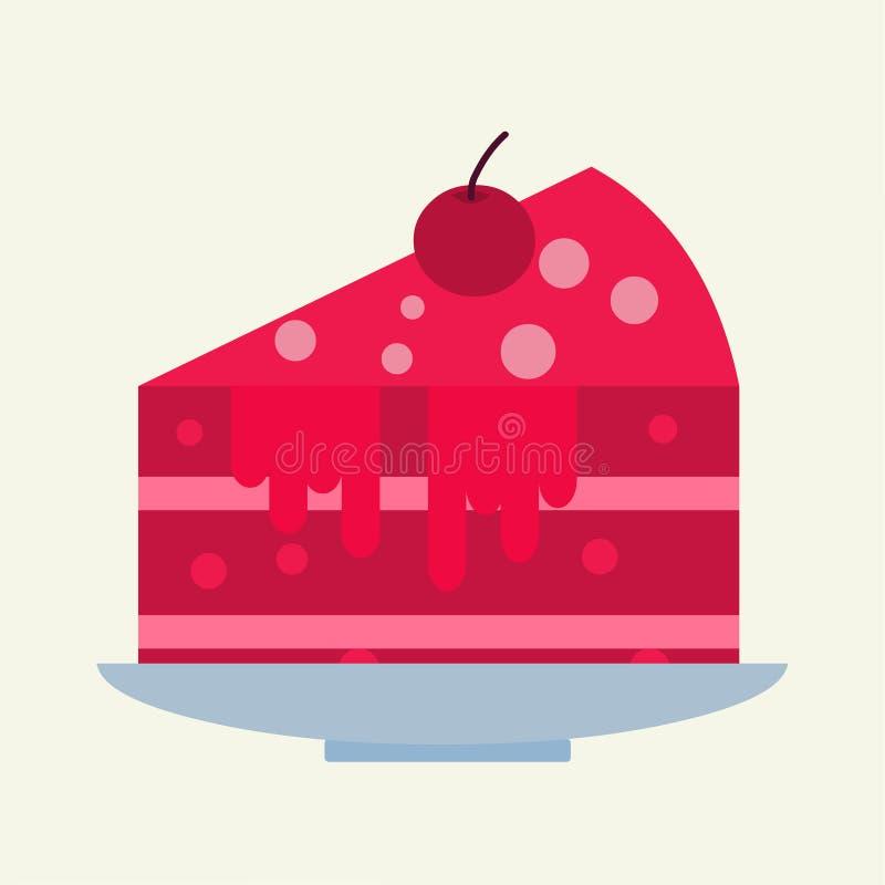 Stück der Kirschkuchen-Vektorillustration lizenzfreie abbildung