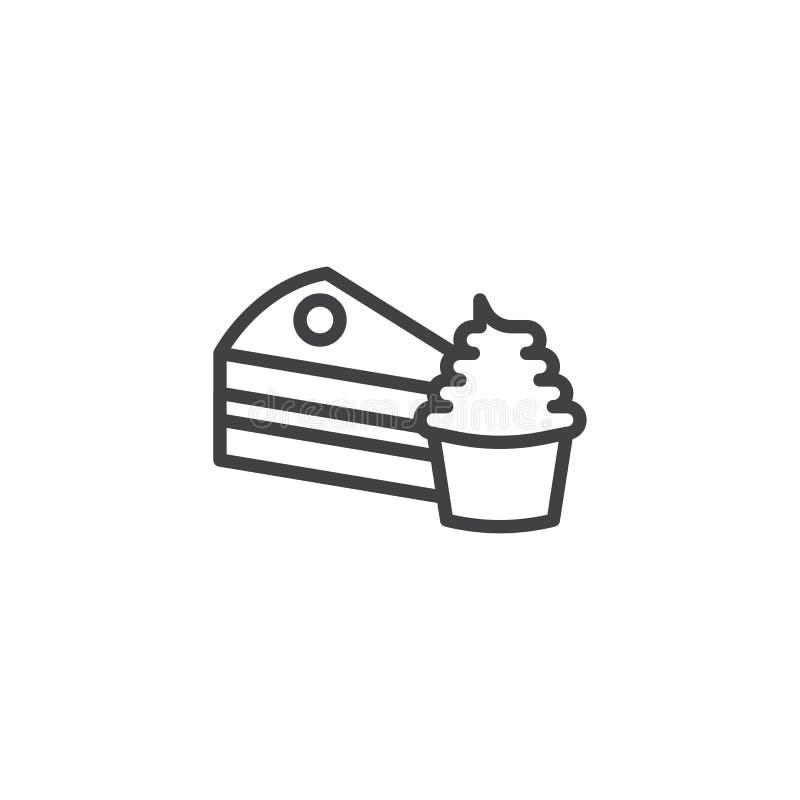 Stück der Kuchen- und Kuchenlinie Ikone stock abbildung