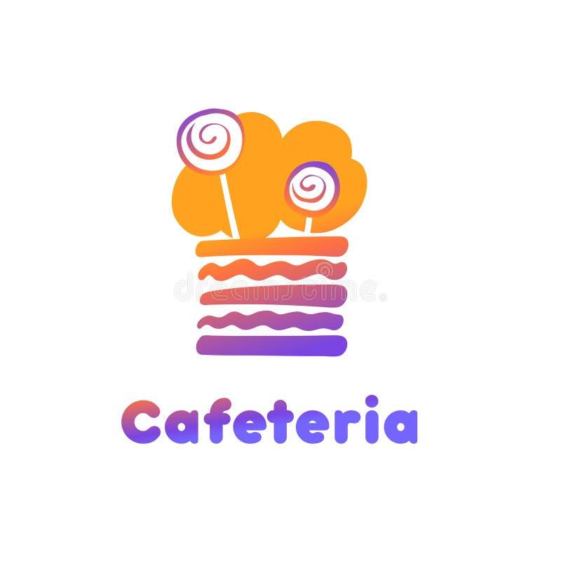 Stück der Parteitorte Konzeptschablonenlogo für Cafeteria, confec stock abbildung