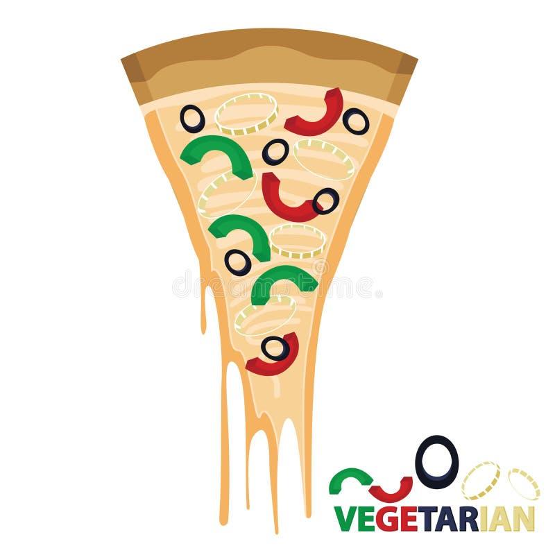Stück des Käse-Pizza-Vegetariers vektor abbildung