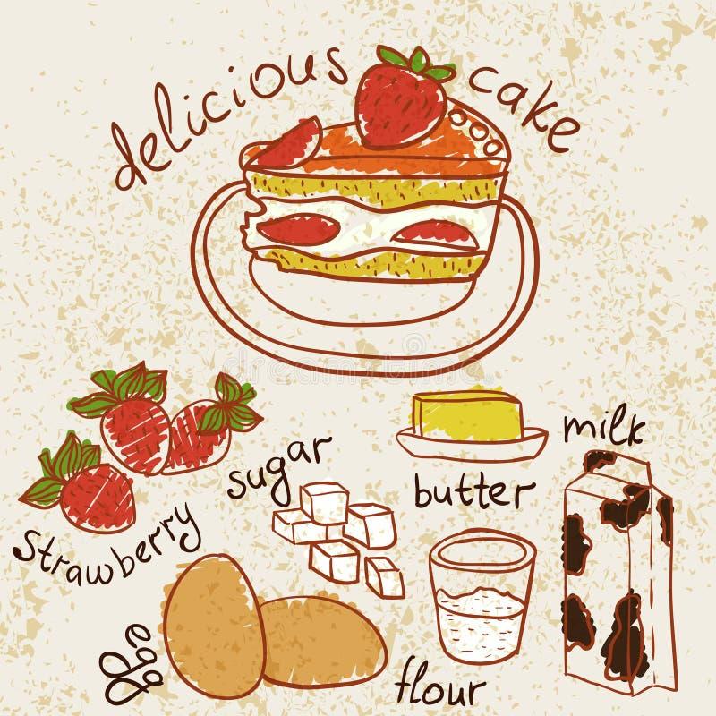 Stück des Kuchens mit Erdbeere stock abbildung