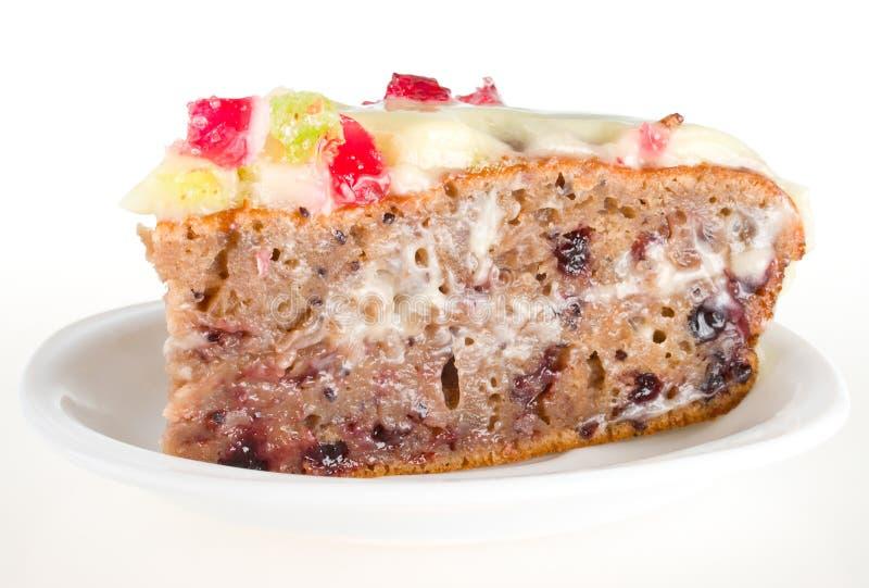 Stück des Kuchens mit Fruchtgelee lizenzfreie stockbilder