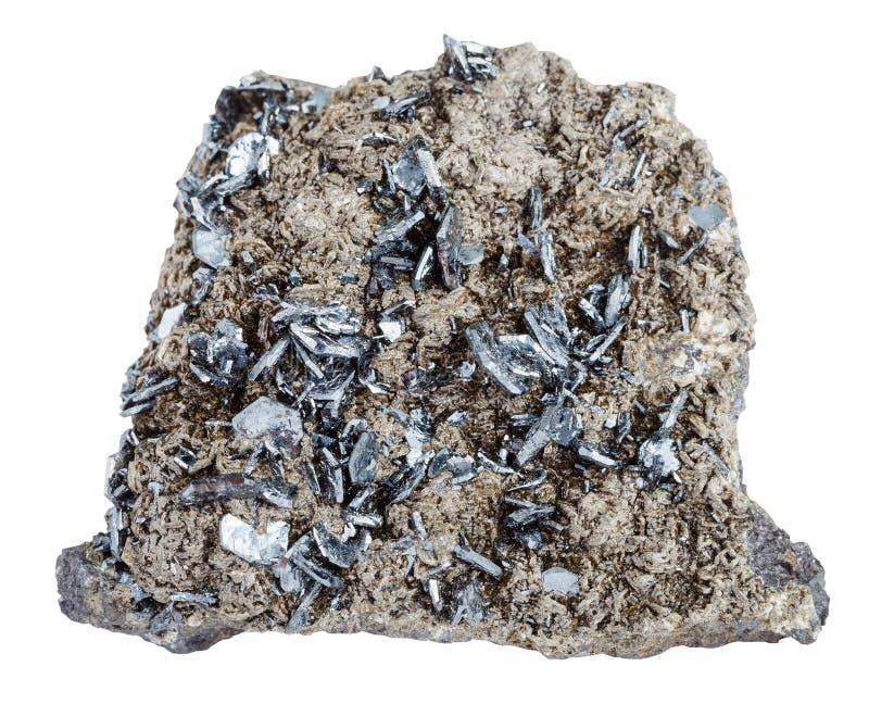 Stück des Mineralsteins mit Magnetitkristallen stockfotografie