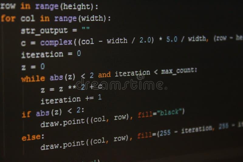 Stück des Programmiercodes in IDE zweitens lizenzfreie stockbilder