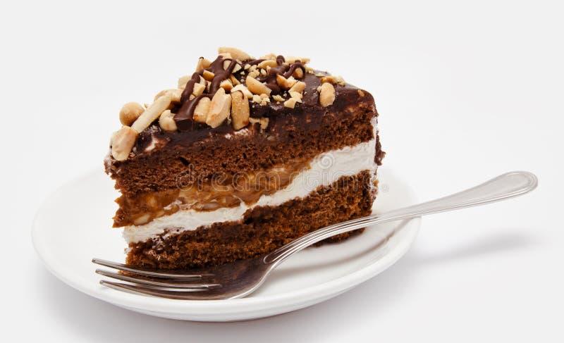 Stück des Schokoladenkuchens auf der Platte mit Gabel lizenzfreie stockbilder