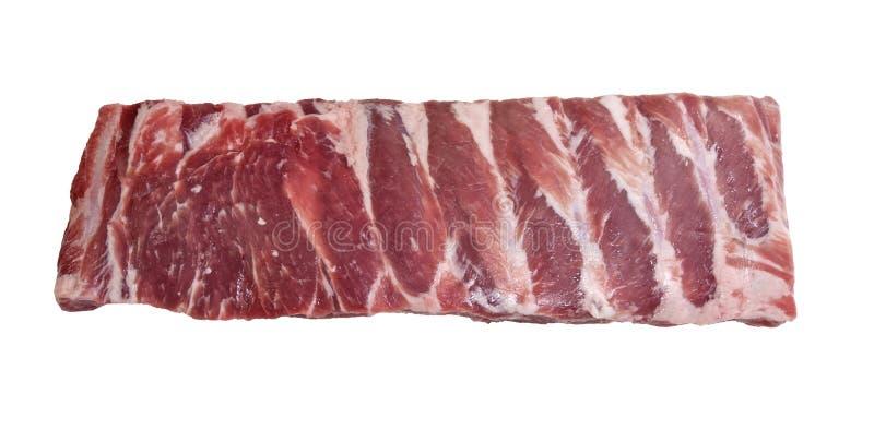 Stück frische Schweinefleischseitenrippen stockfoto