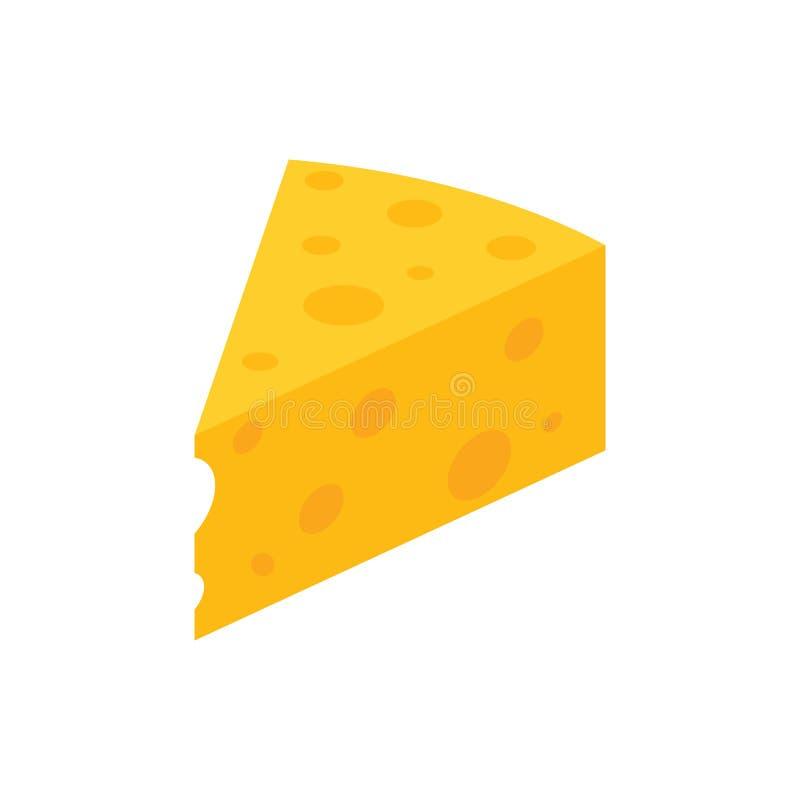 Stück gelber Käse mit Löchern, lokalisierter Vektor lizenzfreie abbildung