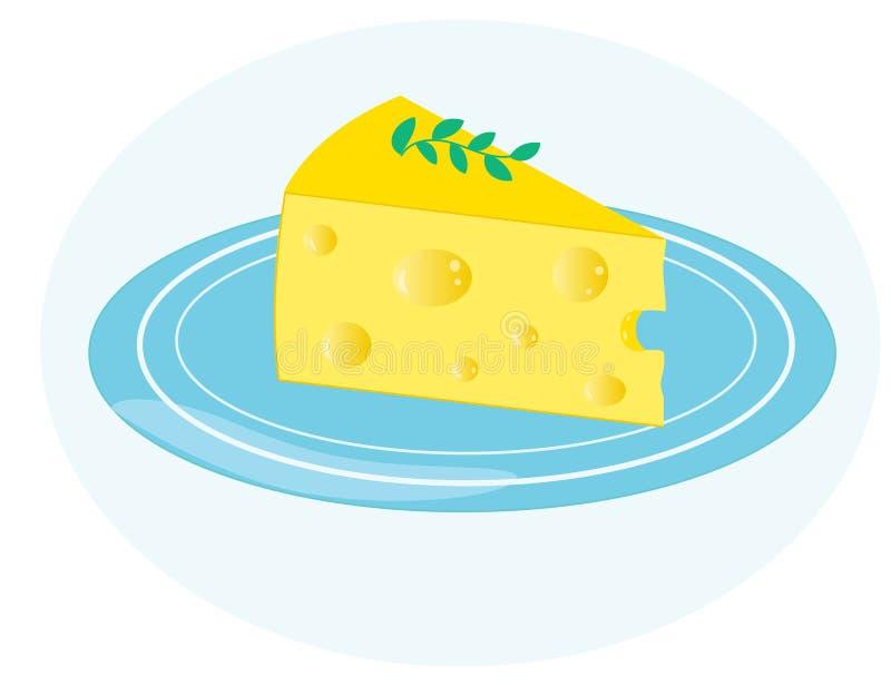 Stück Käse auf einer blauen Platte stock abbildung