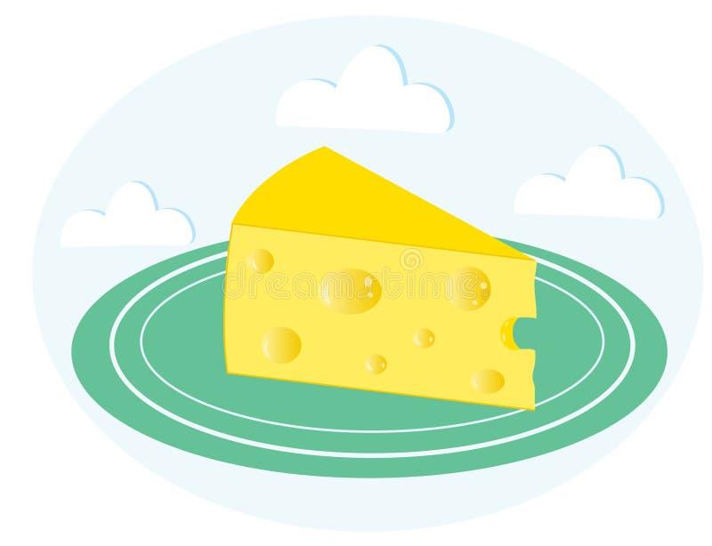 Stück Käse auf einer grünen Platte lizenzfreie abbildung