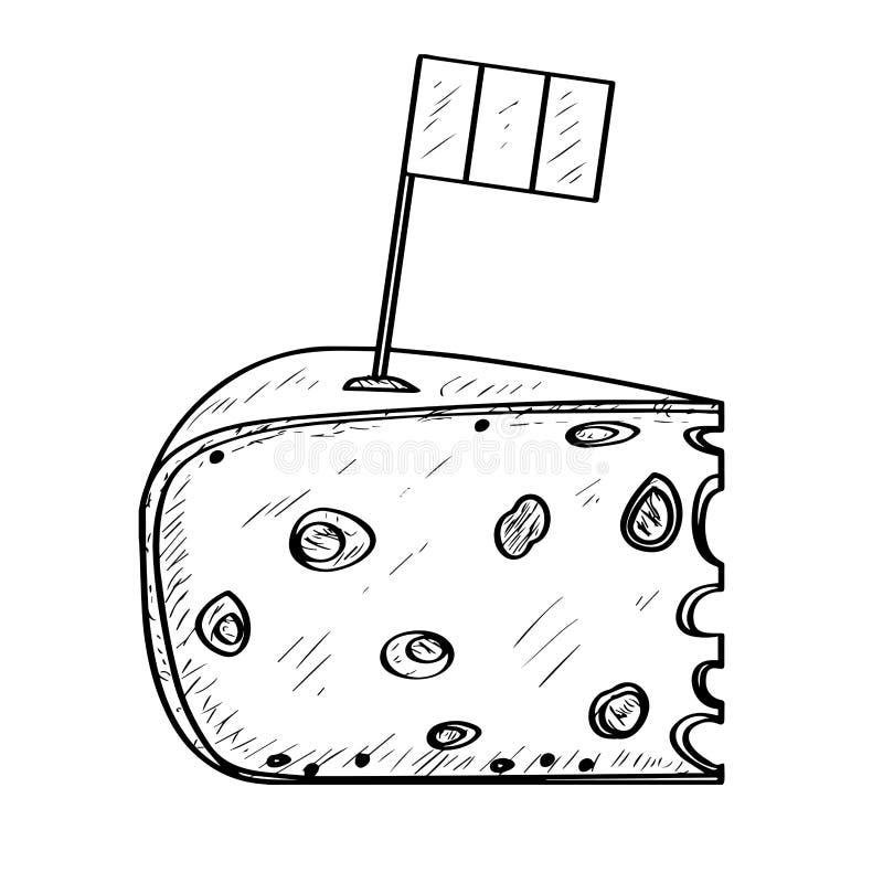 Stück Käse mit einer Flagge - Entwurf stock abbildung