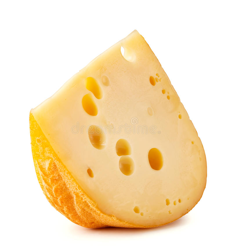 Stück Käse mit großen Löchern stockbild