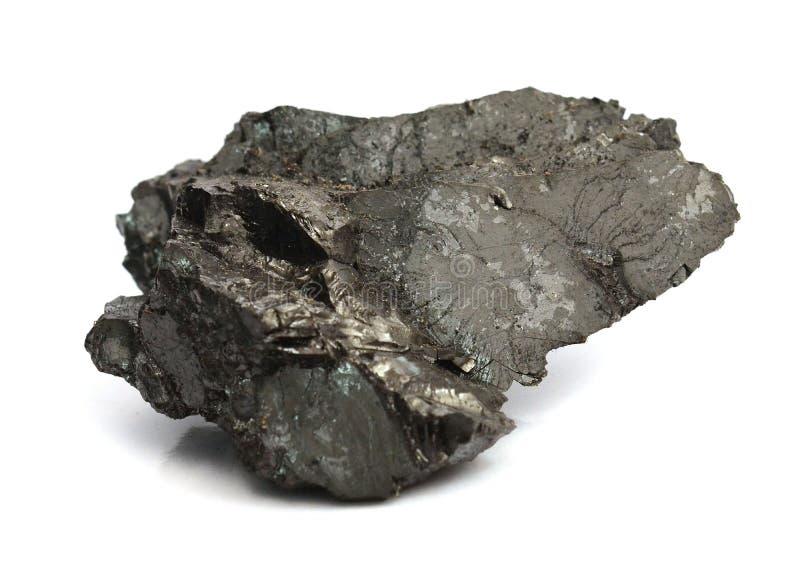 Stück Kohle getrennt auf Weiß stockbild