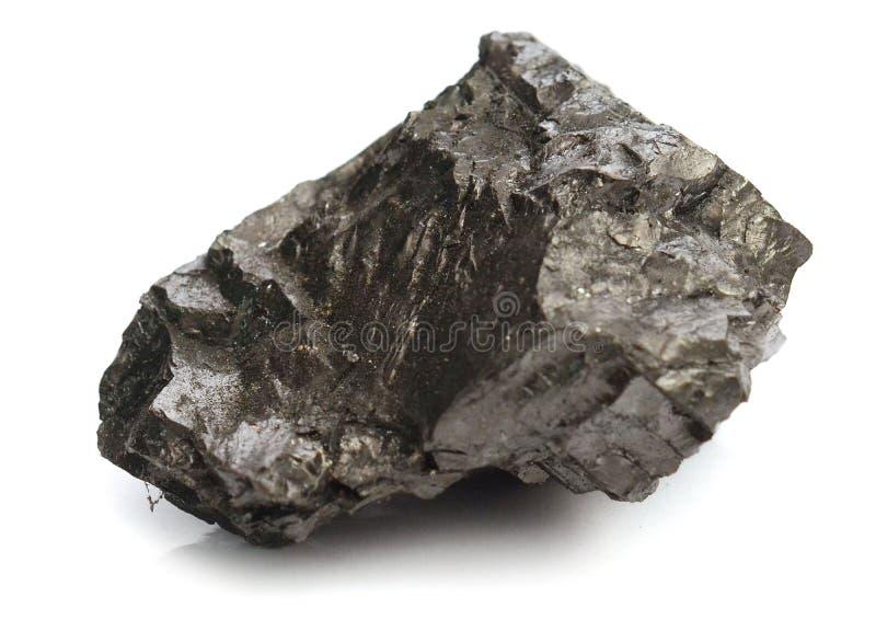 Stück Kohle getrennt auf Weiß stockfotos