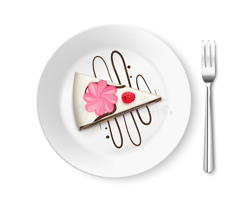 Stück Kuchen-Draufsicht-realistische Zusammensetzung lizenzfreie abbildung