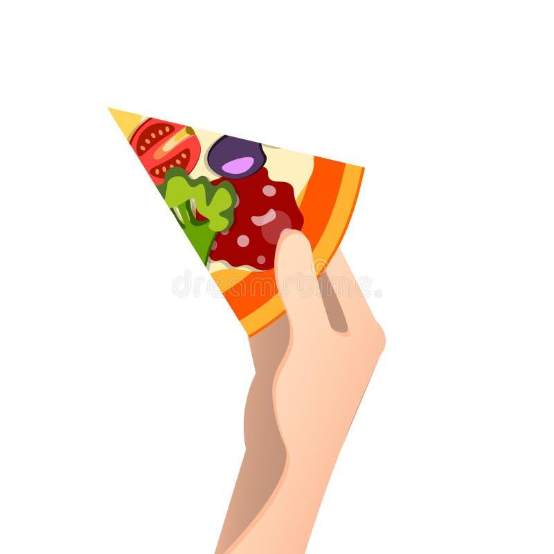 Stück Pizza in einer Hand stock abbildung