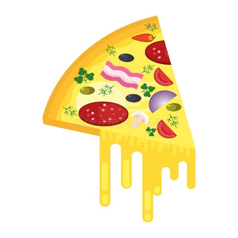 Stück Pizza mit Käse vektor abbildung