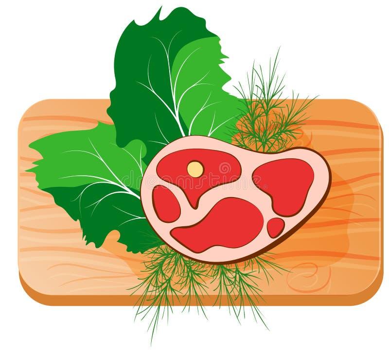Stück rohes Fleisch auf einem Brett mit Grüns lizenzfreie abbildung
