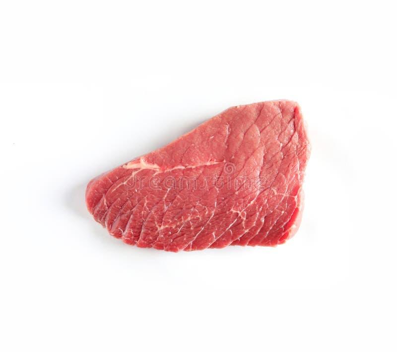 Stück rohes Rindfleisch auf weißem Hintergrund, Draufsicht Natürliche Nahrung stockbilder