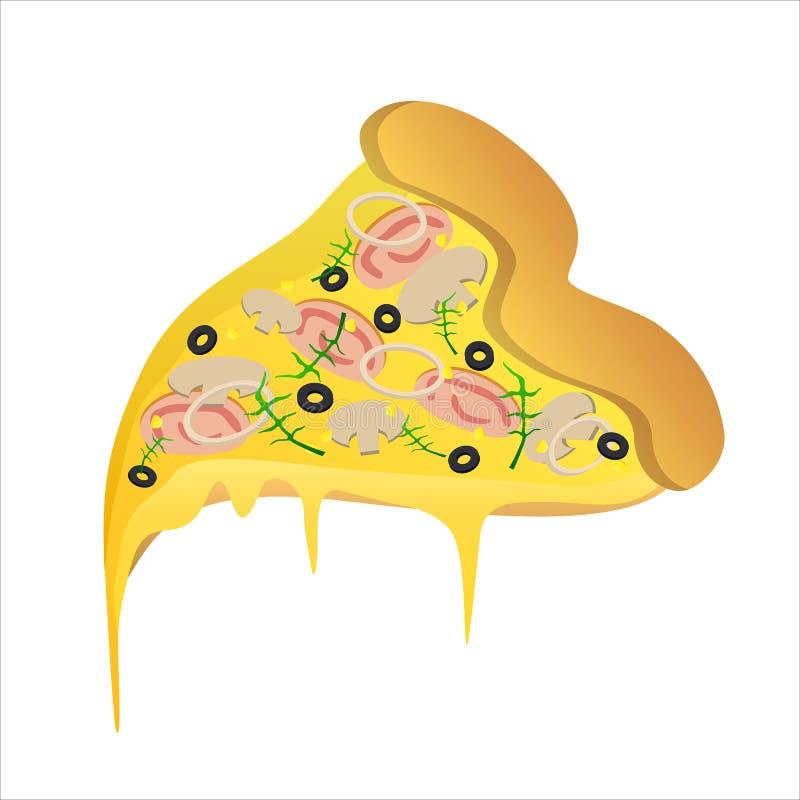 Stück vegetarische Pizza mit Schinken und Käse lizenzfreie abbildung