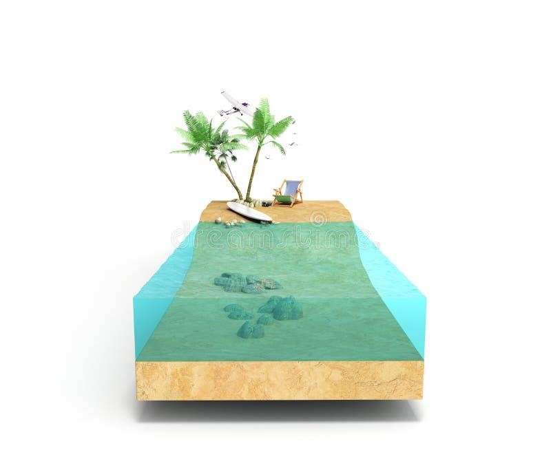 Stück von Tropeninsel mit Wasser und Palmen auf einem Strand in den Kundenberaterinnen stockfoto